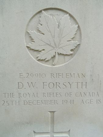 Stanley Military Cemetery: One of 20 Canadian gravestones
