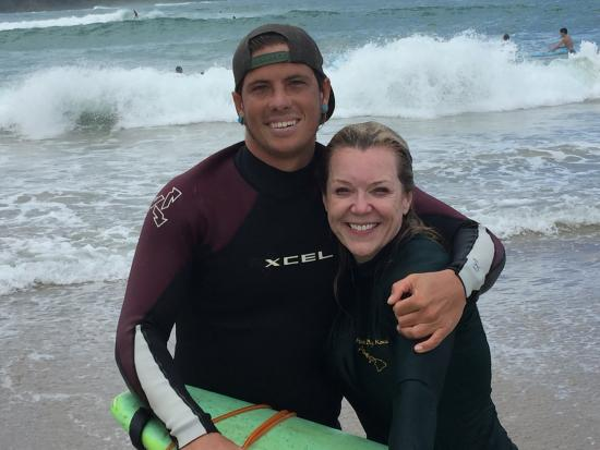Kilauea, Hawái: This was only our 2nd time to surf and the waves were much bigger than our first experience. Cod