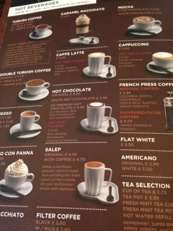 Coffee Menu | Coffee Menu Picture Of Kahve Dunyasi London Tripadvisor
