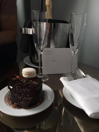 Awesome Birthday Cake And Champagne Delivered By The Hotel Perfect Stay Funny Birthday Cards Online Hetedamsfinfo