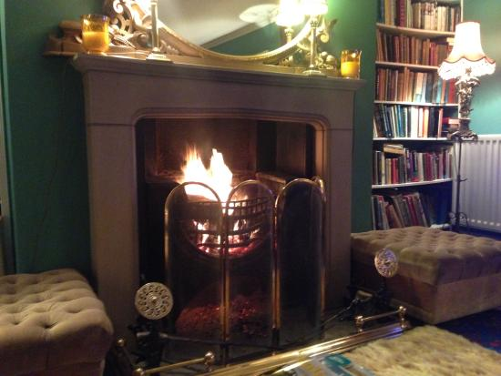 Newburgh House - Coxwold: Fire in the sitting room