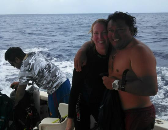 Karen and Dive Master Tony - Wildcat Watersports after a fantastic dive!