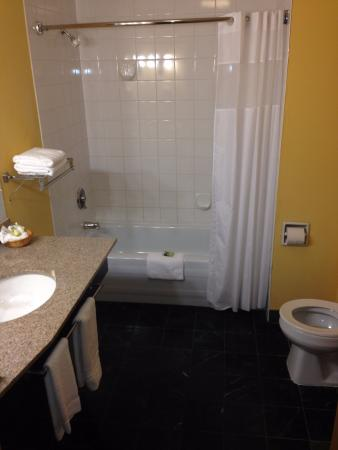 Сюррей, Канада: The towel rack is a bit small (as is the toilet), but plenty of room and well lit.