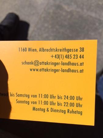 Visitenkarte Bild Von Ottakringer Landhaus Wien Tripadvisor