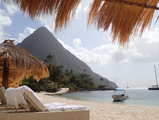 comfy beach beds come with 2 towels each plus piton views rh tripadvisor in