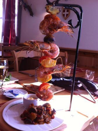 Restaurant Le Trapoun : Brochette de gambas. Top!