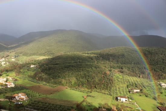 Casperia, Italia: View from our window after a rainfall. So close we could almost touch the rainbow!