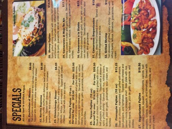 Sabor A Mexico Mexican Restaurant: Menu