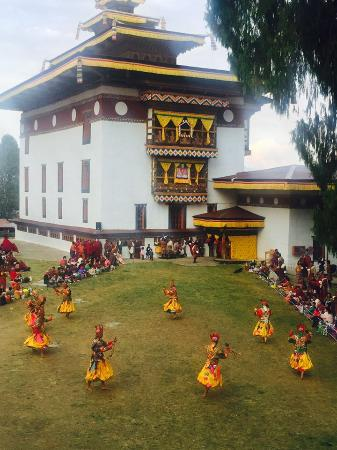 Punakha District, Bhutan: 1.	The laymen wearing animal masks have the task to subdue evil spirits with their swords.