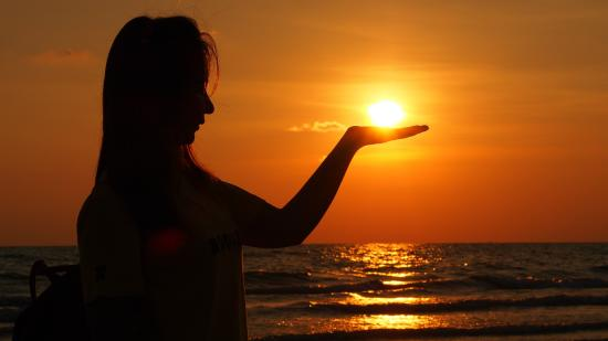 Sun set at white sand beach white and soft sand .Reflect of sun ...   title   rise of sun