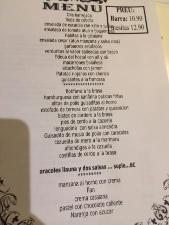 menú de mesa o barra (just Spanish! Not Catalan,... No rice...)