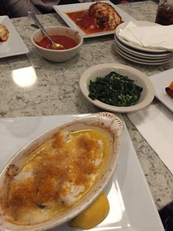 Sofia's Restaurant: Baked scrod with sauteed spinach with olive oil and garlic