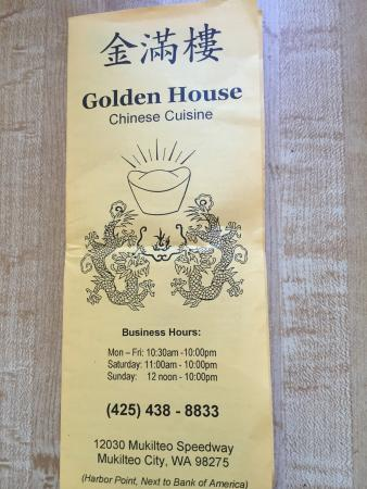 Golden House Chinese Cuisine : Menu, February 2016