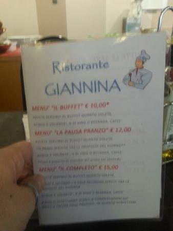Ristorante Giannina : Menu: primo, buffet, vino, acqua e caffè