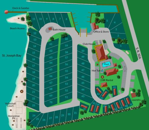 Site Map - Picture of Presnell's Bayside Marina & RV Resort ... Dock House Rv Design on cabin house designs, united states house designs, rv house signs, elf house designs, cottage house designs, rv interior design,