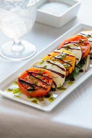 Edgewater Bar & Grille: Tomato-Mozzarella Salad: Red and Yellow Tomatoes, Fresh Mozzarella, Cracked Black Pepper withBal