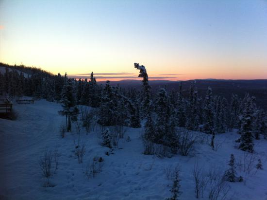 Aurora Borealis Lodge: Peaceful, gorgeous view from the room. Landscape colors change to beautiful blues when Sun is ou