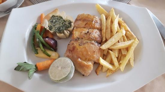The Bay Restaurant: Red Snapper Fish Fillet with chips