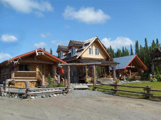 Authentic Alaskan log cabins nestled in the wood in Sterling, Alaska.