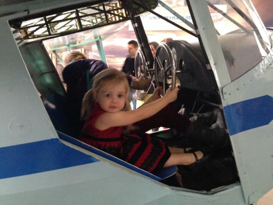 College Park Aviation Museum: Climbing on the plane.