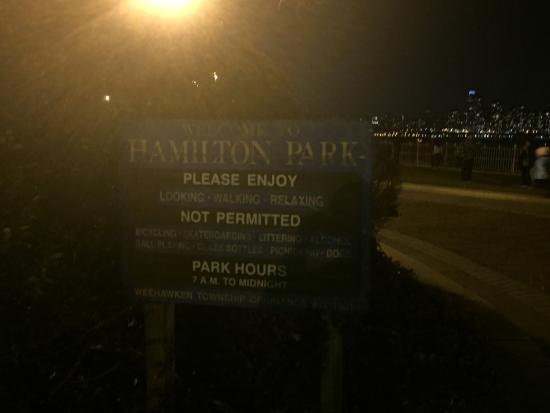 Fairview, Нью-Джерси: descenso en Hamilton Park para panorámica de Manhattan