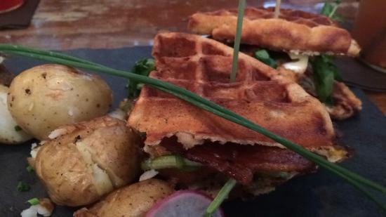 North Easton, MA: Chicken waffle sandwich