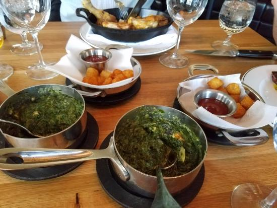 Englewood Cliffs, NJ: spinach and tater tot side dishes