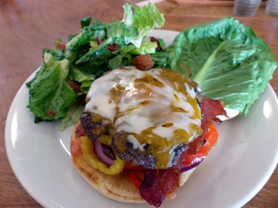 Boiler Room burger and Caesar salad