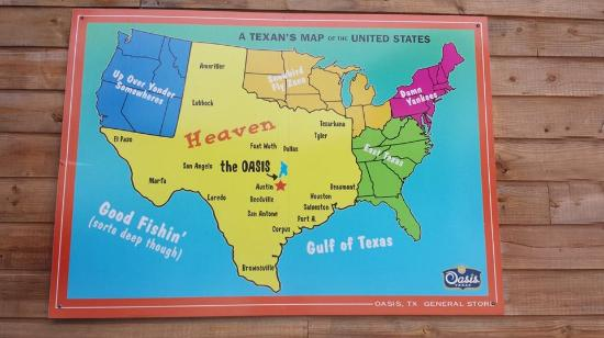 Map Of Texas Showing Austin.Us Map Showing Location Of Oasis Picture Of The Oasis On Lake