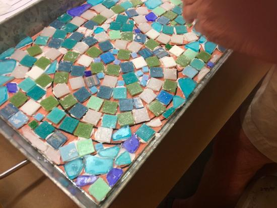 Naples Art Association: Mosaic tray in process