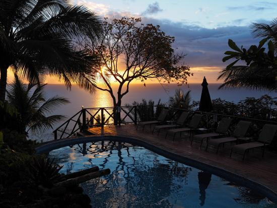 Nature's Paradise: Beautiful Sunset from Pool Area