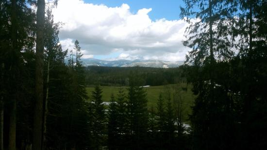 Sandpoint, ID: View of the Selkirk Mountains from the wraparound deck of the cabin