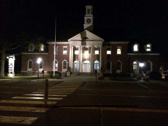 Newtown, CT: Across the street from Edmond Town Hall, at night