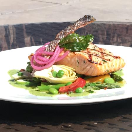 Kings Landing Bistro : *Salmon Spring Vegetables, Zucchini Puree, Pickled Red Onions & Herbs