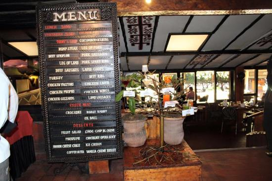 The menu picture of the carnivore restaurant nairobi for Arabian cuisine nairobi