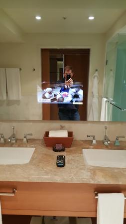 The Ritz-Carlton, Toronto: I never knew I needed a TV in my bathroom mirror until this moment.