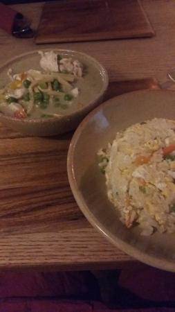 Great Abington, UK: Thai Green curry and egg fried rice which was lovely. Freshly cooked and plenty of it.