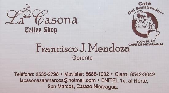 San Marcos, นิการากัว: Business card / carte d'affaire