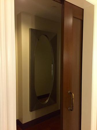 sliding barn door to bathroom and hall mirror picture of l rh tripadvisor co za