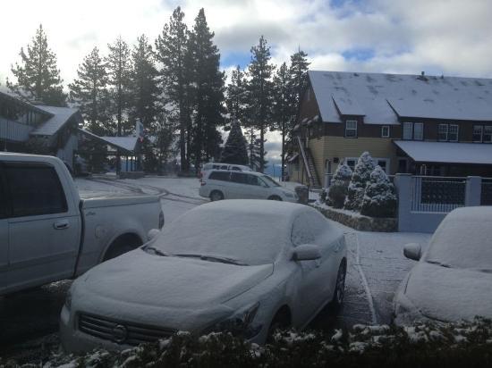 Americas Best Value Inn-Tahoe City/Lake Tahoe: Вид из дверей номера на двор и озеро Тахо