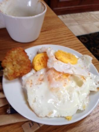 The Coliseum: This is the condition of the rubbery fried eggs and half hash brown!!