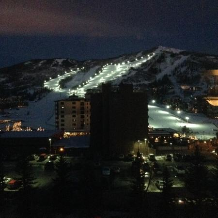 The Steamboat Grand: View from our third floor room - nightime (skiing)