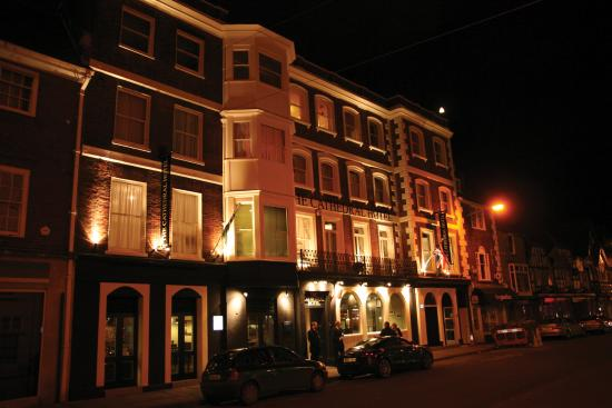 The Cathedral Hotel at night