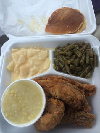 Russellville, KY: Thursdays plate lunch special. Fried Chicken (white meat) 3 sides, bread & sweet tea. $10!
