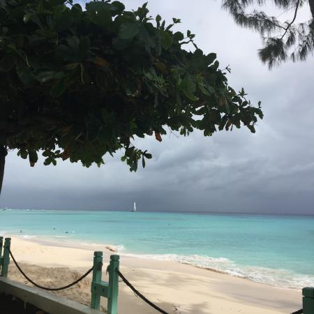Worthing, Barbados: The beach from ground level.