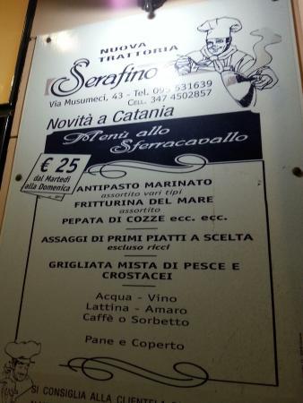 Menù Fisso Picture Of Trattoria Serafino Catania