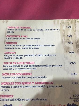 LA CARTA - Picture of La Chelinda Taqueria, Madrid - TripAdvisor