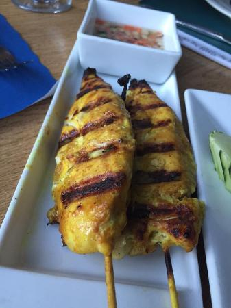 Thai Bamboo: Chicken satay ; big happy meal for my daughter.