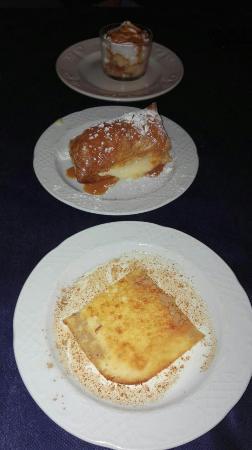 Uncastillo, İspanya: Requesón tostado, Hojaldre de crema, Copa de la casa