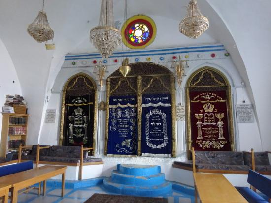 The Sephardic Synagogue of the Ari: Interior with 3 arks that are actually niches in the wall
